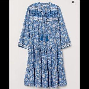 H&M Blue Floral Boho Tiered Ruffle Tassel Dress 0
